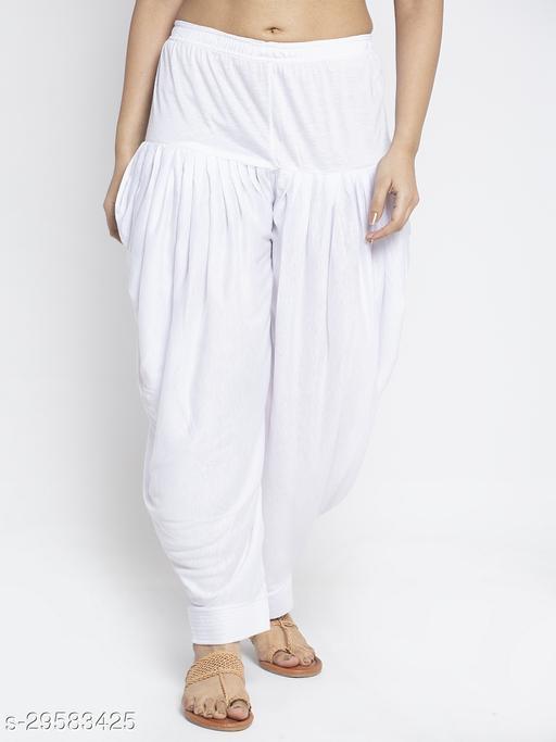 Women White Solid Salwar Modern Lycra
