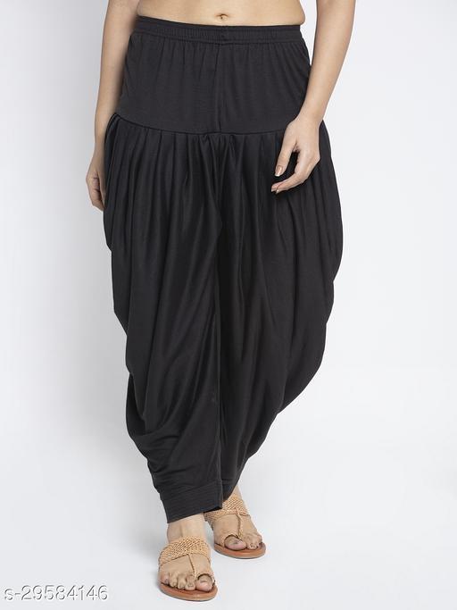 Women Black Solid Salwar Modern Lycra