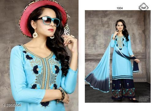 Kurta Sets Women's Embroidered Cotton Kurta set with Palazzos  *Fabric* Kurti -  Cotton , Palazzo - Rayon, Dupatta - Nazneen  *Sleeves* Sleeves Are Included  *Size* Kurti - Up To 48 in, Palazzo -  Up To 28 in To 34 in (Free Size), Dupatta - 2.25 Mtr  *Length* Kurti - Up To 46 in, Palazzo - Up To 40 in    *Type* Semi - Stitched  *Description* It Has 1 Piece Of Women's Kurti, 1 Piece Of Palazzo & 1 Piece Of Dupatta  *Work* Kurti - Embroidered, Palazzo - Embroidered, Dupatta - Border  *Sizes Available* Free Size *   Catalog Rating: ★4 (137)  Catalog Name: Women's Embroidered Cotton Kurta Sets CatalogID_403330 C74-SC1003 Code: 247-2958804-