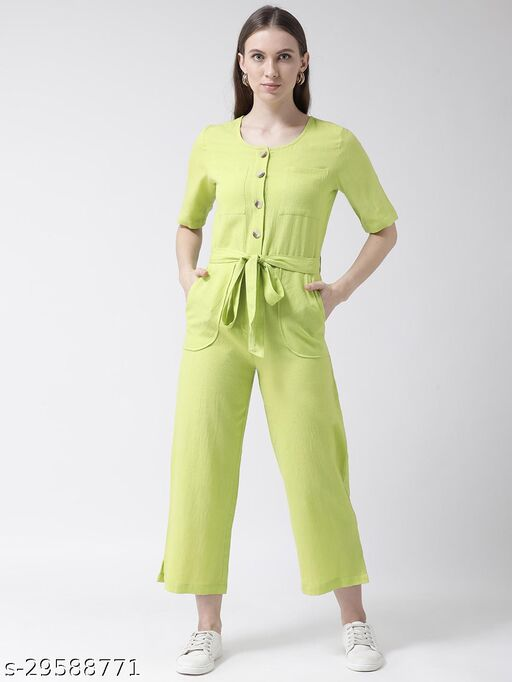 Lime Solid Belted Jumpsuit