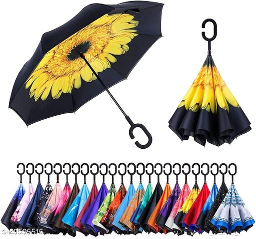 Umbrella Windproof, Reverse Umbrella, Umbrellas for Women with UV Protection, Upside Down Umbrella with C-Shaped Handle (Multi Color-1 pcs)