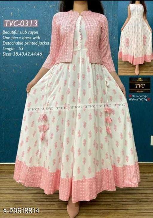 Womens Latest  Design White Rayon Pink Printed Kurti with Jacket