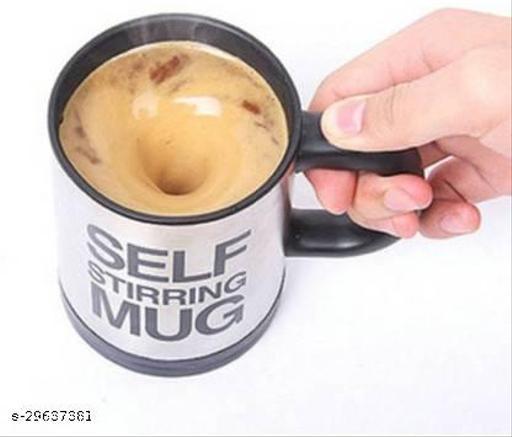 Tornado Self Stirring Best Gift Coffee Stainless Steel Coffee Mug  (350 ml)