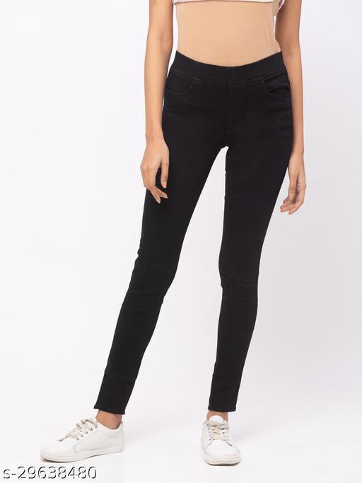 Comfortable Black Full Length Jegging for Women(573262Black)