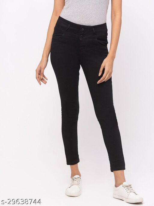 ZOLA Black Slim Fit Ankle Length High Rise Jeans(576459Black)