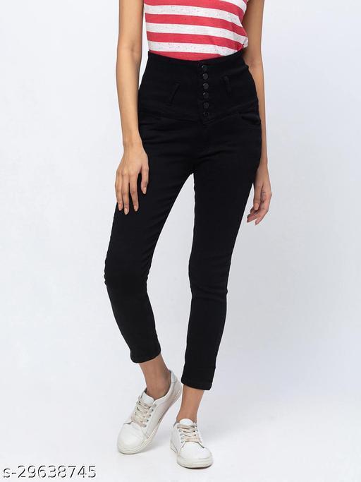 ZOLA Black Calf Length Stretchable Jeans for Women(576450Black)