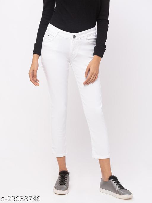 ZOLA White Pencil Fit Low Waist Calf Length Jeans(576340White)