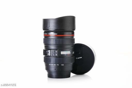 Shiv Plastic Camera Lens Shaped Coffee Mug With tow Lid (Black)
