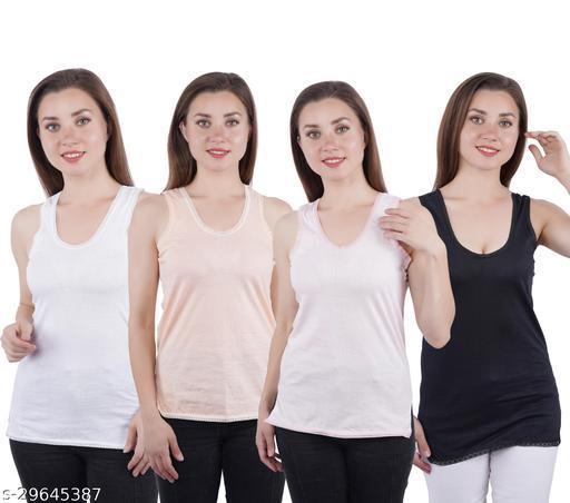 Women Pack of 4 Multicolor Cotton Blend Camisoles