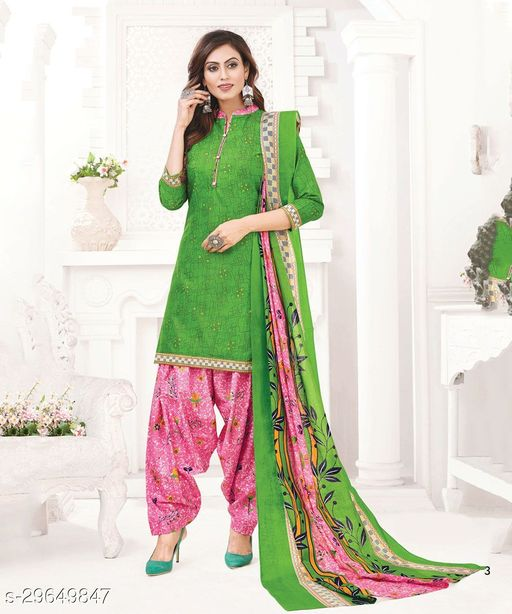 Mirraw Green Cotton Unstitched Salwar Suit/Kameez Dress Material With Dupatta Latest Design For Womens & Girls - For All Occasion