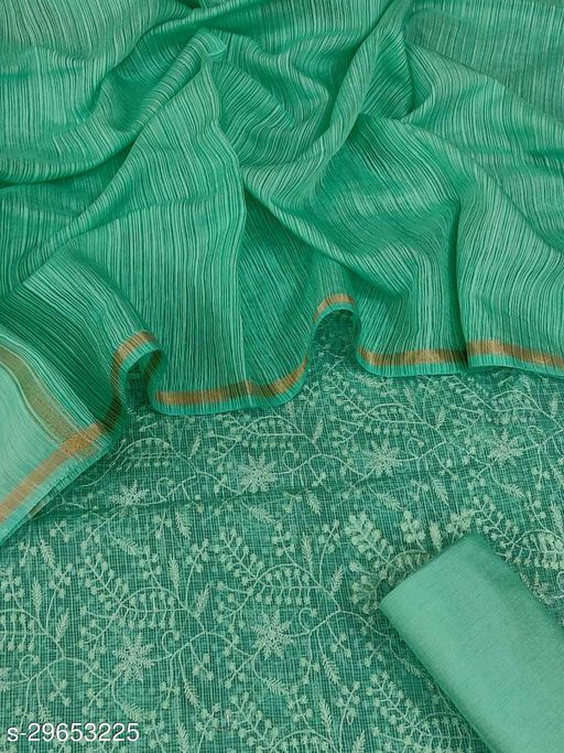 Exclusive Kota Silk Embroidered Salwar Suit with Organza Cotton stripes Dupatta UnStitched Dress Material 2.5 m (SEA GREEN)
