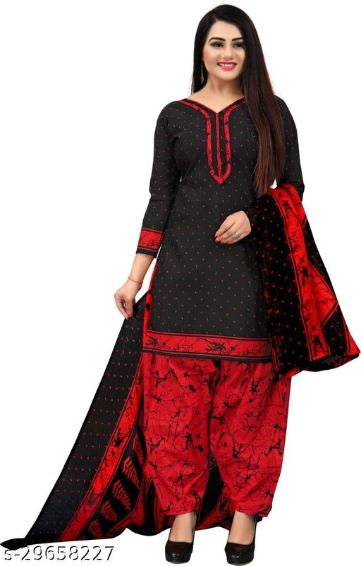 Anny Deziner Women's Red  Printed Unstitched Salwar Suit Dress Material