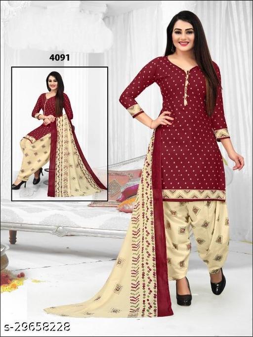 Anny Deziner Women's Maroon  Printed Unstitched Salwar Suit Dress Material