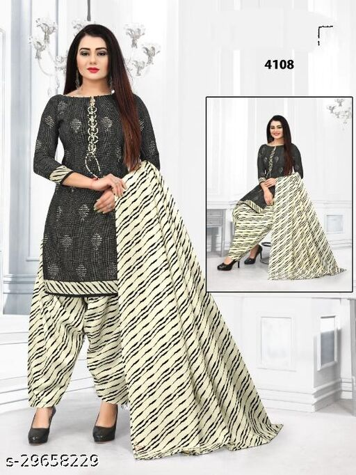 Anny Deziner Women's Dark Gray   Printed Unstitched Salwar Suit Dress Material