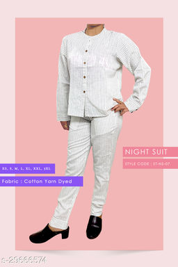 Cotton Yarn Dyed Comfortable Night Suit
