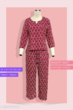 Rayon Printed Comfortable Night Suit