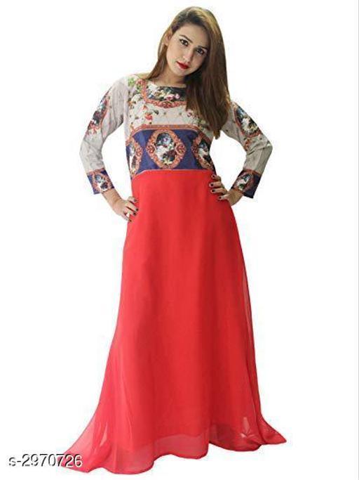 Women's Printed Red Georgette Dress