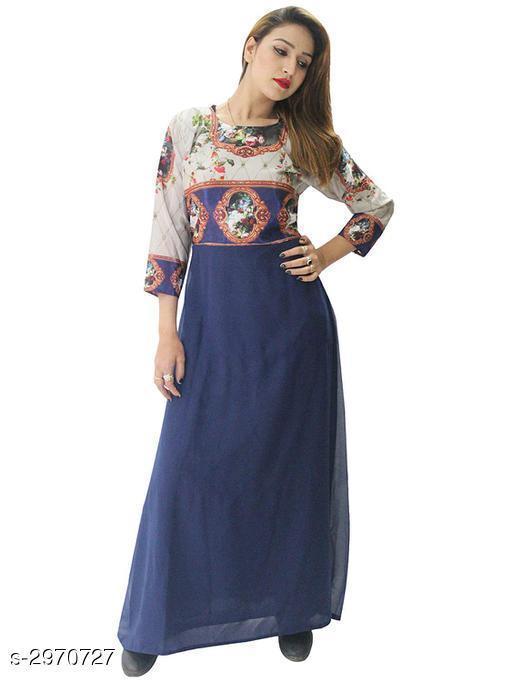 Women's Printed Navy Blue Georgette Dress