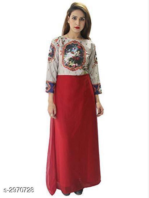 Women's Printed Maroon Georgette Dress
