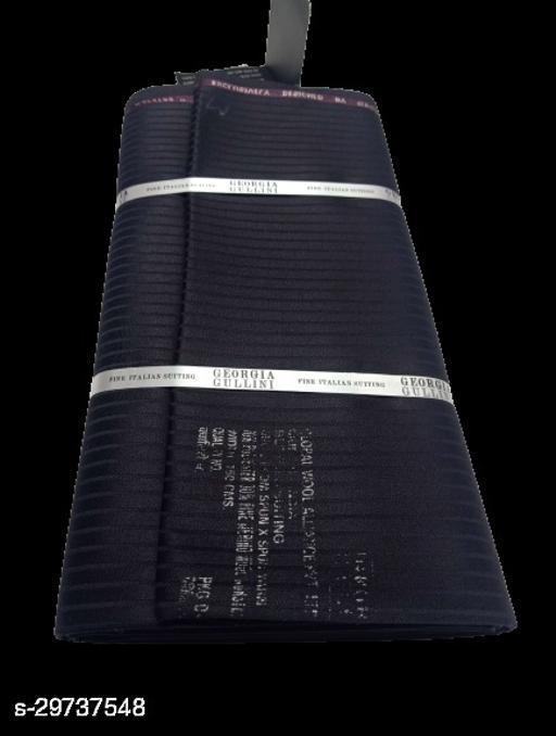 Georgia Gullinii Men's Wool Unstitched Suit Fabric (Shiny black, 3 METER, Free Size)
