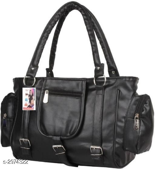 Attractive Women's Black Faux Leather/Leatherette Handbag