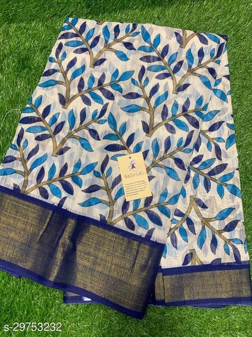 Anni Designer Blue  Color Linen Zari Floral Print Saree (KASTOORI_BLUE)