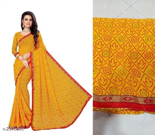 Sarees Attractive Bandhani Georgette Women's Saree  *Fabric* Saree -Bandhani Georgette, Blouse - Bandhani Georgette  *Size* Saree Length - 5.3 Mtr, Blouse Length - 0.7 Mtr  *Work* Printed  *Sizes Available* Free Size *   Catalog Rating: ★3.5 (60)  Catalog Name: Tiya Printed Bandhani Sarees CatalogID_405986 C74-SC1004 Code: 633-2976363-