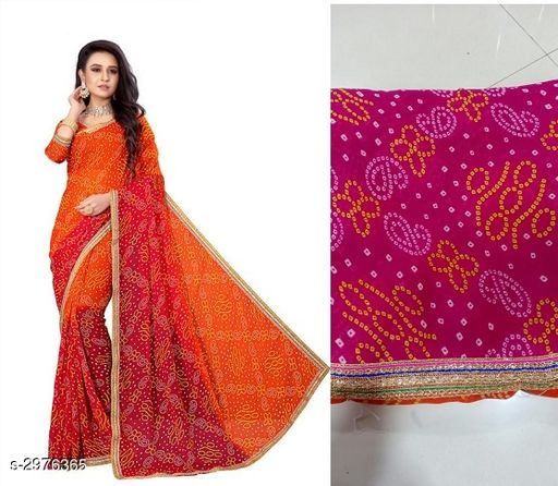 Sarees Attractive Bandhani Georgette Women's Saree  *Fabric* Saree -Bandhani Georgette, Blouse - Bandhani Georgette  *Size* Saree Length - 5.3 Mtr, Blouse Length - 0.7 Mtr  *Work* Printed  *Sizes Available* Free Size *   Catalog Rating: ★3.5 (60)  Catalog Name: Tiya Printed Bandhani Sarees CatalogID_405986 C74-SC1004 Code: 633-2976365-
