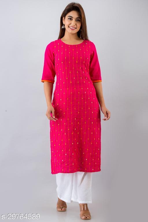 NeshamaKurti Womens Cotton Blend Embellished Straight Kurta (Pink)