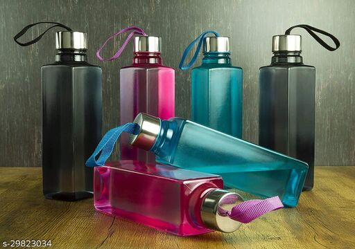 All New 6 Pcs Square Shape Water Bottle for School, Home, Kitchen, Gym and for Fridge Liquid Storage & More | New Attractive Look & Multi Purpose Water Bottle (Multicolor)