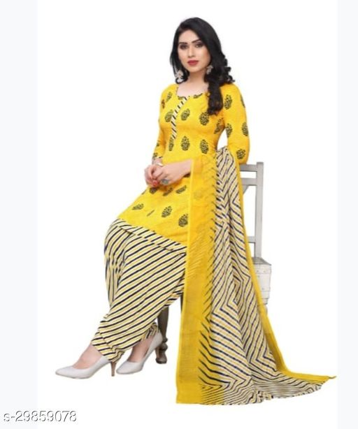 Mirraw Yellow Synthetic Unstitched Salwar Suit/Kameez Dress Material With Dupatta Latest Design For Womens & Girls - For All Occasion