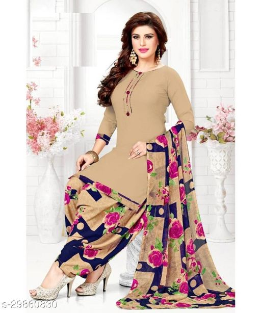 Mirraw Beige Synthetic Unstitched Salwar Suit/Kameez Dress Material With Dupatta Latest Design For Womens & Girls - For All Occasion