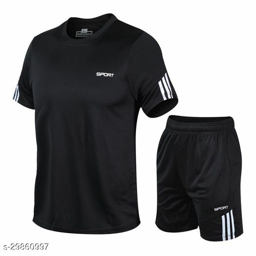 AW All Weather Men's PolyesterDryfit Round Neck T-Shirt With shorts In Combo