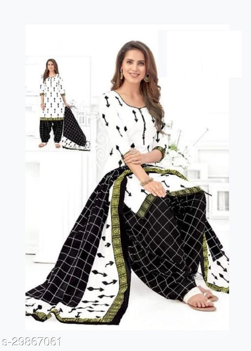Mirraw White Synthetic Unstitched Salwar Suit/Kameez Dress Material With Dupatta Latest Design For Womens & Girls - For All Occasion
