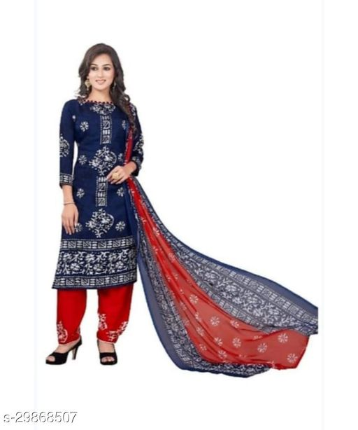 Mirraw Blue Synthetic Unstitched Salwar Suit/Kameez Dress Material With Dupatta Latest Design For Womens & Girls - For All Occasion