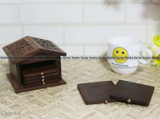 Wooden Hut Shaped Table Coaster for Tea Cups Coffee Mugs