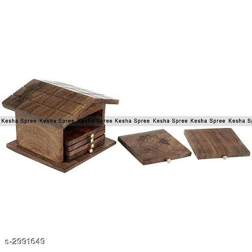 Glassware & Drinkware Wooden Hut Style Coaster Square Design   *Material* Wood  *Size (L X B X H) * 8.5 in x 4 in x 4 In  *Description* It Has 6 Piece Of Coaster & 1 Piece Of Coaster Stand  *Sizes Available* Free Size *   Catalog Rating: ★4.1 (10)  Catalog Name: Dream Home Trendy Unique Coasters Vol 19 CatalogID_408306 C136-SC1603 Code: 052-2991649-