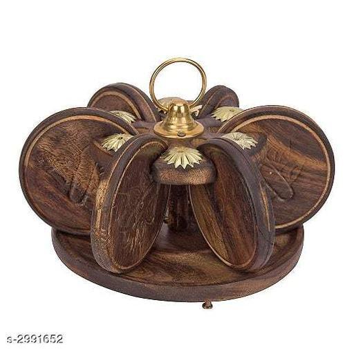 Kharbooja Shape Wooden Tea Coaster
