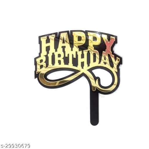 Happy Birthday Acrylic Cake Toppers - Gold & Black Zig Zag Underline Gold (Party Monkey)