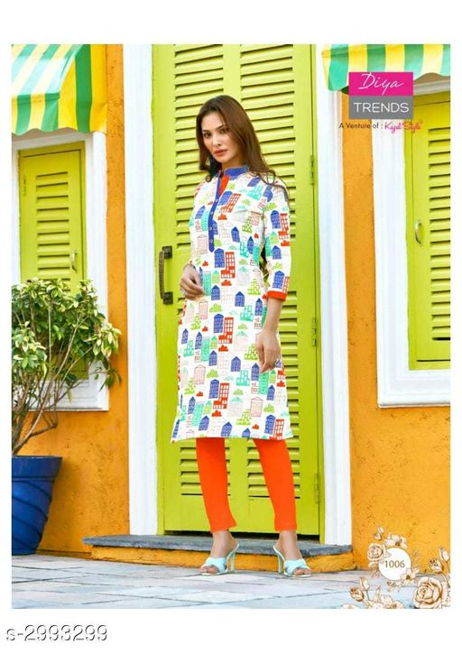 Kurta Sets Fancy Cotton Womens Kurta Set  *Fabric* Kurti - Cotton, Legging - Cotton  *Sleeves* Sleeves Are Included  *Size* Kurti - XL - 42 in, Legging - Up To 26 in To 38 in ( Free Size )  *Length* Kurti - Up To 46 in, Legging - Up To 36 in  *Type* Stitched  *Description* It Has 1 Piece Of Kurti With 1 Piece Of Legging  *Work / Pattern* Kurti - Printed, Legging - Solid  *Sizes Available* XL   SKU: 10 Free shipping is available for this item. Pkt. Weight Range: 400  Catalog Name: New Fancy Cotton Womens Kurta Sets Vol 6 - Archi Boutique Code: 965-2993299--