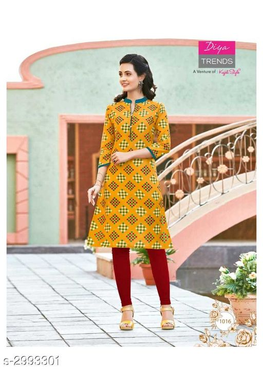 Kurta Sets Fancy Cotton Womens Kurta Set  *Fabric* Kurti - Cotton, Legging - Cotton  *Sleeves* Sleeves Are Included  *Size* Kurti - XL - 42 in, Legging - Up To 26 in To 38 in ( Free Size )  *Length* Kurti - Up To 46 in, Legging - Up To 36 in  *Type* Stitched  *Description* It Has 1 Piece Of Kurti With 1 Piece Of Legging  *Work / Pattern* Kurti - Printed, Legging - Solid  *Sizes Available* XL   SKU: 08 Free shipping is available for this item. Pkt. Weight Range: 400  Catalog Name: New Fancy Cotton Womens Kurta Sets Vol 6 - Archi Boutique Code: 965-2993301--
