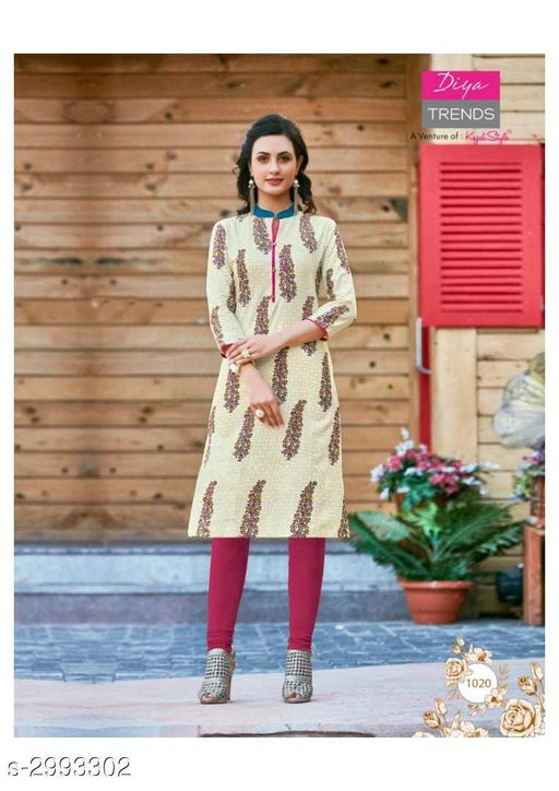 Kurta Sets Fancy Cotton Womens Kurta Set  *Fabric* Kurti - Cotton, Legging - Cotton  *Sleeves* Sleeves Are Included  *Size* Kurti - XL - 42 in, Legging - Up To 26 in To 38 in ( Free Size )  *Length* Kurti - Up To 46 in, Legging - Up To 36 in  *Type* Stitched  *Description* It Has 1 Piece Of Kurti With 1 Piece Of Legging  *Work / Pattern* Kurti - Printed, Legging - Solid  *Sizes Available* XL   SKU: 07 Free shipping is available for this item. Pkt. Weight Range: 400  Catalog Name: New Fancy Cotton Womens Kurta Sets Vol 6 - Archi Boutique Code: 965-2993302--