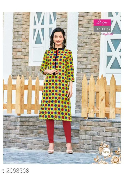 Kurta Sets Fancy Cotton Womens Kurta Set  *Fabric* Kurti - Cotton, Legging - Cotton  *Sleeves* Sleeves Are Included  *Size* Kurti - XL - 42 in, Legging - Up To 26 in To 38 in ( Free Size )  *Length* Kurti - Up To 46 in, Legging - Up To 36 in  *Type* Stitched  *Description* It Has 1 Piece Of Kurti With 1 Piece Of Legging  *Work / Pattern* Kurti - Printed, Legging - Solid  *Sizes Available* XL   SKU: 06 Free shipping is available for this item. Pkt. Weight Range: 400  Catalog Name: New Fancy Cotton Womens Kurta Sets Vol 6 - Archi Boutique Code: 965-2993303--