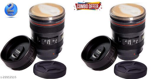 2 Pcs camera lens shape Coffee with 2 Lids And Coaster Stainless Steel Coffee Mug  (350 ml)