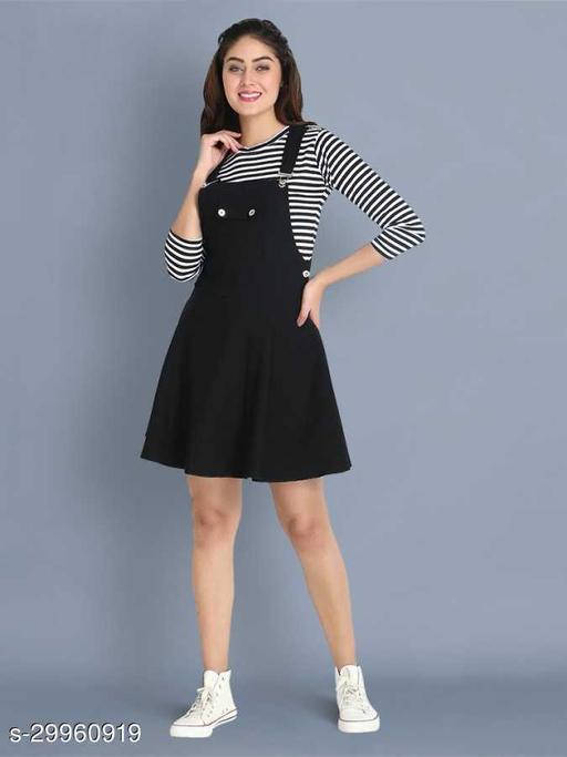 Women Pinafore Black Solid Dress
