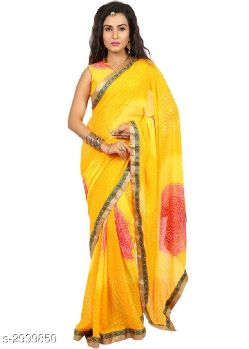 Sarees Attractive Bandhani Women's Sarees  *Fabric* Saree -Bandhani, Blouse - Bandhani  *Size* Saree Length - 5.5 Mtr, Blouse Length - 0.8 Mtr  *Work* Printed  *Sizes Available* Free Size *   Catalog Rating: ★3.6 (67)  Catalog Name: Tiya Printed Bandhani Sarees with Lace border CatalogID_409585 C74-SC1004 Code: 053-2999850-