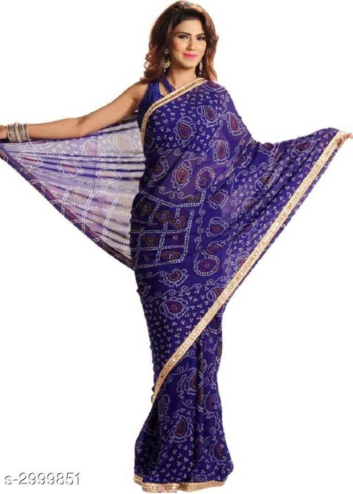 Sarees Attractive Bandhani Women's Sarees  *Fabric* Saree -Bandhani, Blouse - Bandhani  *Size* Saree Length - 5.5 Mtr, Blouse Length - 0.8 Mtr  *Work* Printed  *Sizes Available* Free Size *   Catalog Rating: ★3.6 (67)  Catalog Name: Tiya Printed Bandhani Sarees with Lace border CatalogID_409585 C74-SC1004 Code: 053-2999851-