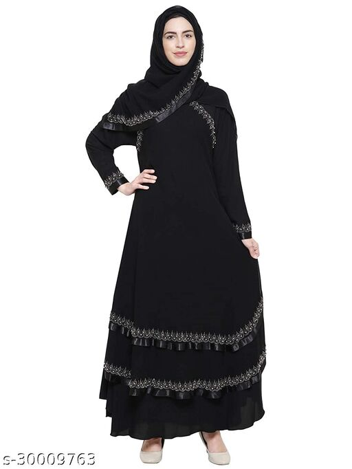 Beautiful Women's Imported Premium Firdous Fabric Stone And Lace Work Abaya burqa for Girl's stylish With Hijab (Dupatta) And Adjustable Belt