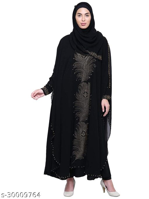 Firdous Fabric Burkha (Abaya) For Women With Stone Work And Adjustable Belt And Scarf (Dupatta) and Mouthpiece