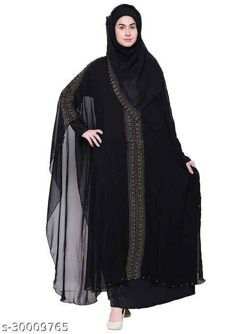 Women's Imported Crystal Lycra And Georgette Fabric Stone Work Shrug Style Abaya Burqa With Hijab (Scarf)